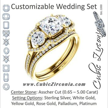 CZ Wedding Set, featuring The Lizabeth engagement ring (Customizable Asscher Cut Enhanced 3-stone Style with Tri-Halos & Thin Pavé Band)