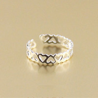 Cute Sterling Silver Hollow Heart Ring