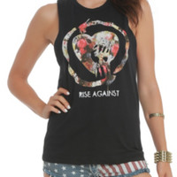 Rise Against Floral Logo Girls Muscle Top