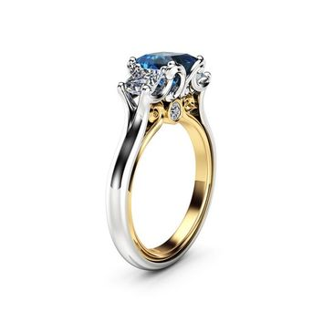 Blue Diamond Engagement Ring White Gold Ring Princess Diamond Engagement Ring