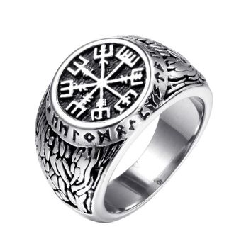 Stainless Steel Sailing Rings with Compass Cool Outdoor Sports Rings Striped Engraved Punk Style Biker Jewelry for Male VR129