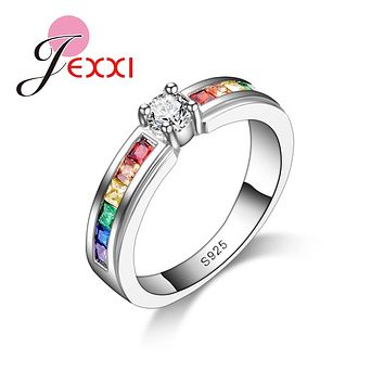 JEXXI Rainbow Promise Beautiful Engagement Rings For Lover 925 Sterling Silver Elegant Jewelry High Quality Austrain Rhinestone