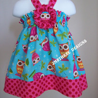 Aqua Owls Halter Top/Dress Toddler Infant Sundress size 6m-9m, 9m-12m, 12-18m,18-24mos.,2t, or 3t