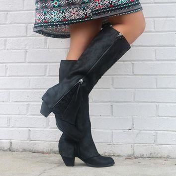 NOT RATED Celestial Falls Black Heeled Boots With Scalloped Lace Detail