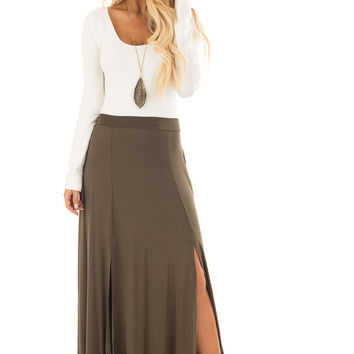 Olive Jersey Knit Maxi Skirt with Double Front Slits