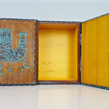 Vintage Carved Wood Box with Mint Green Details, Two Compartment Wooden Box, Aztec Bird Wooden Box, Wooden Storage Box, Jewelry Box