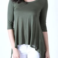 High low 3/4 sleeve olive top
