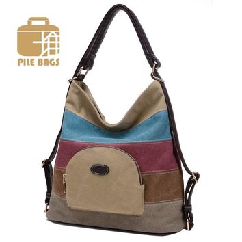 Fashion Women Canvas Handbag Leather Shoulder Bags Stripe Patchwork Vintage Crossbody Bags Party Rainbow Hobos Tote Daily Use