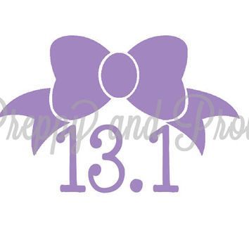 13.1 Half Marathon Running Decal Sticker with Bow, Car Decal, Laptop Decal, Phone Decal, Planner Decal, Yeti Decal, Running Decal