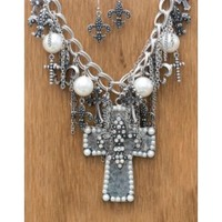 M&F Western Products Silver Cross with Fleur de Lis and Pearls Jewelry Set