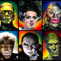 "Prints 8x10"" - Monsters - Classic - Set of 6 - Horror Dark Art Frankenstein Dracula Mummy Wolfman Vintage Spooky Halloween"
