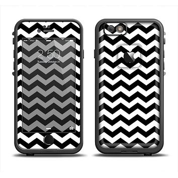 The Black & White Chevron Pattern V2 Apple iPhone 6 LifeProof Fre Case Skin Set