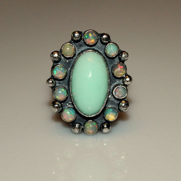 Ethiopian opal ring, opal cluster cocktail ring, Croatian opal ring, large oxidized opal ring, opal statement ring, plus size jewelry
