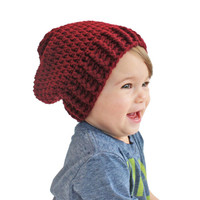 Maroon Crochet Slouch Baby Beanie Any Size 0-24 Fitted or Slouchy style