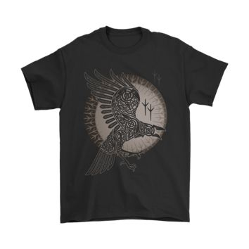 PEAP3CR Vikings Odin Raven Fly Across The World Shirts