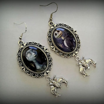 Nightmare Before Christmas Jack and Sally earrings with bats