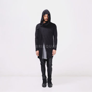Vandalique RO Dark Hooded Long Knit Cardigan