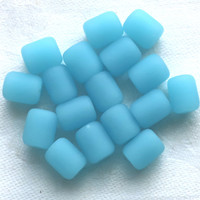 17 aqua blue faux sea glass barrel beads, round short tube beads, 10 x 8mm opaque frosted. satin, matte glass beads C0701