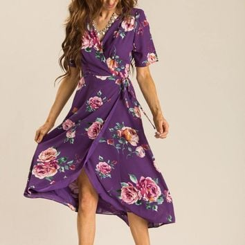 Annelise Purple Floral Wrap Dress