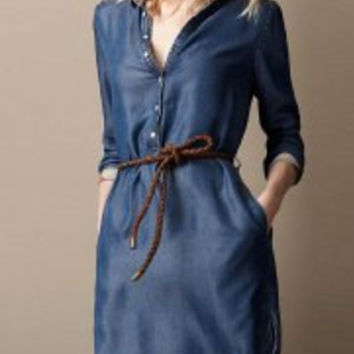 Blue Long Sleeve Buttoned Denim Dress