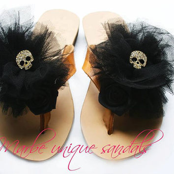 We Rock!!Handmade leather sandal with black tulle and gold skull on the top.