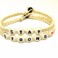 Stay Strong Bracelet Set, White Macrame Hemp Jewelry, Made to Order