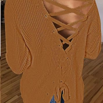 New Brown Tie Back Lace-up One Off Shoulder Backless Long Sleeve Slouchy Sweaters Pullover