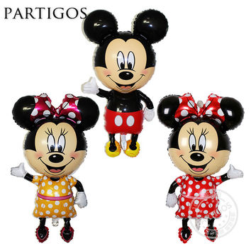 1pcs/lot Large 110*64cm Minnie Mickey Mouse Foil Balloon Standing Mickey Baby Shower Birthday Party Decoration Supplies Globos