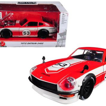 1972 Datsun 240Z #53 Red/White JDM Tuners 1/24 Diecast Model Car by Jada