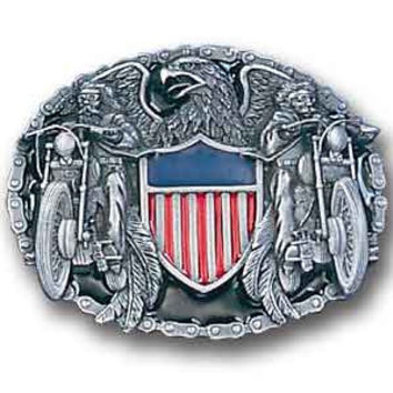 Two Bikers with American Shield  Enameled Belt Buckle