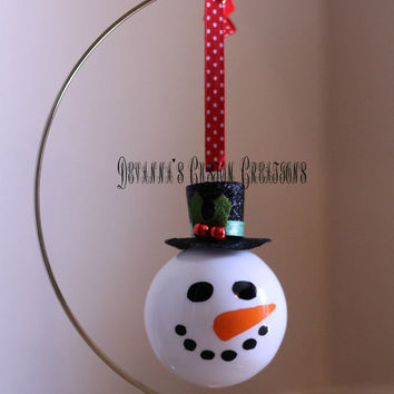 "Snowman Christmas Tree Ornament - 3"" Glass Snowman Ornament with option for personalization"