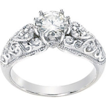 Diamond Engagement Ring Vintage Style 1.05 Ct--Jewelry
