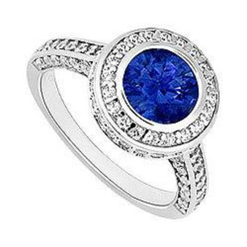 Sapphire and Diamond Halo Engagement Ring : 14K White Gold - 2.00 CT TGW