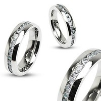 STR-0024 Stainless Steel Eternity Clear Gems Cz Comfort Fit Wedding Band Ring 4mm, 6mm, 8mm; Comes with Free Gift Box