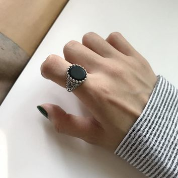 Quality 925 sterling silver black agate vintage rings simple do old design personality wild rings for women charms fine jewelry