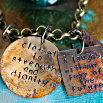 Bible Verse Jewelry, Proverbs 31 25, Hand Stamped Necklace