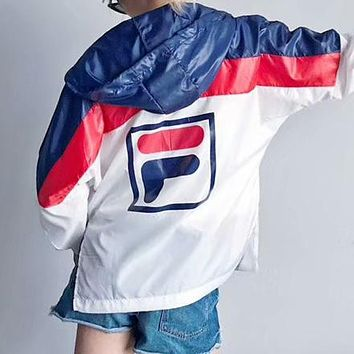 """FILA""Stylish Color Matching Hooded Zipper Cardigan Sweatshirt Jacket Coat Windbreaker Sportswear I-AA-XDD"