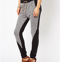 Black Gray Drawstring Elastic Waist Pants