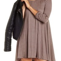 Black Combo Striped Trapeze Shift T-Shirt Dress by Charlotte Russe