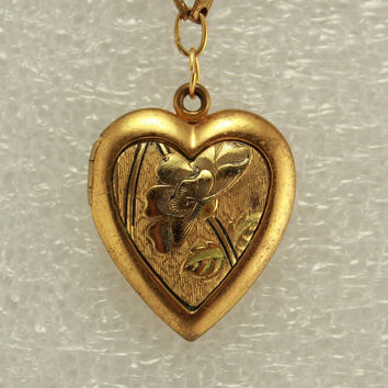 Vintage Bar and Heart Locket Pin Pendant