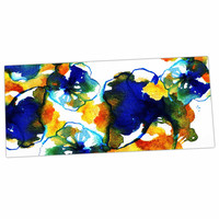 "Sonal Nathwani ""Blue Orange Floral"" Abstract Watercolor Desk Mat"