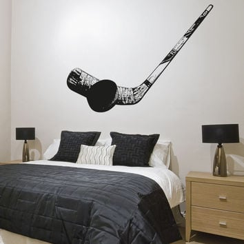 Vinyl Wall Decal Sticker Hockey Puck and Stick #5092