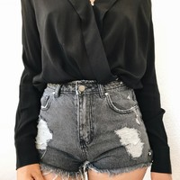 PIERCED DENIM SHORTS- CHARCOAL