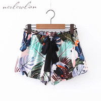 New Arrival Summer Elastic Waist Shorts Floral Print Casual Loose Sexy Female Short Pants XL657-0429