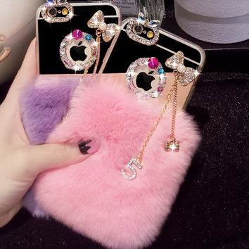 Handmade Rabbits Fur iPhone 6 6s Plus creative case with Diamond