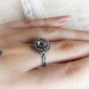 Grey blue round Swarovski crystal ring victorian renaissance bridal ring engagement blue grey crystal ring baroque medieval gothic jewelry