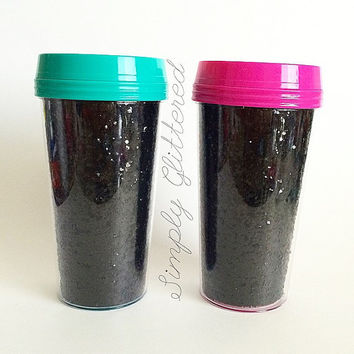 Limited Edition Glitter Travel Mugs with Colored Lid