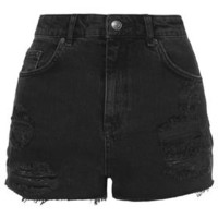 PETITE MOTO Black Ripped Mom Shorts - Petite - Clothing