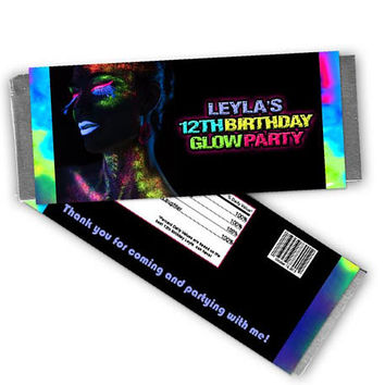 Neon Glow Party Candy Bar Wrapper - Girl Glow Birthday Party Favors - Party Candy Wrapper - Candy Labels - Girl Glow Party - Rave Candy Teen