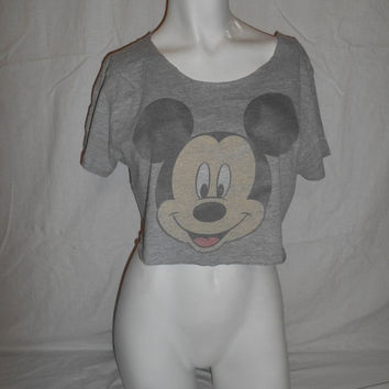 CHRISTMAS Clothing SALE cut off reworked women's  MICKEY Mouse crop cropped half  tee tshirt t shirt